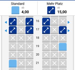 Kosten für Sitzplatzreservierung
