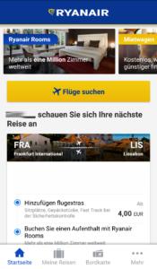 Zusatzbuchung in der Ryanair App